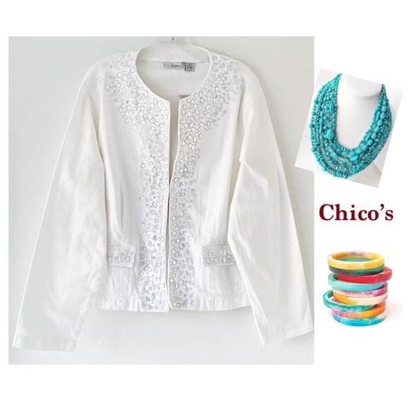CHICO'S PLATINUM RALEIGH WHITE GEM DENIM JACKET